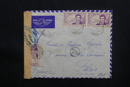 SÉNÉGAL - Enveloppe De Dakar En FM Par Avion Pour Paris Avec Contrôle Postal - L 48615 - Sénégal (1887-1944)
