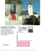 1540b: Privatganzsache AK Postkarten-App: A- 2305 Witzelsdorf, Wehrkirche, Kriegerdenkmal - Monuments