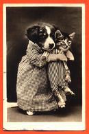 CPA Chien Habillé En Nourrice Tenant Un Petit Chat Dans Ses Bras - Animali Abbigliati