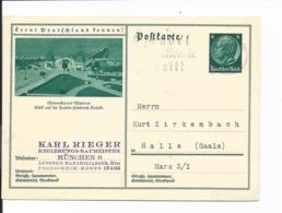 DR P 221 - 55 -  6 Pf Hindenburg Med. BiPo Misdroy Von München N. Halle/S.  Bedarfsverwendet - Germania