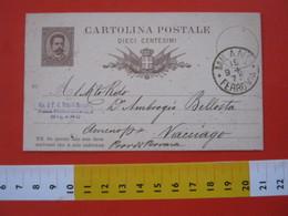 PC.3 ITALIA REGNO CARTOLINA POSTALE - 1879 10 CENT BRUNO MILL. 82 DA MILANO BERTARELLI X AMENO DI VACCIAGO NOVARA - Postwaardestukken