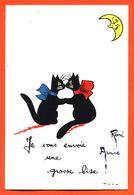 """CPA Illustrée René - Chats Noirs """" Je Vous Envoie Une Grosse Bise """" - Illustrators & Photographers"""