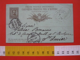 PC.3 ITALIA REGNO CARTOLINA POSTALE - 1882 10 CENT X ESTERO UPU MILL. 87 VERDE DA FIRENZE1888 GENEVE ST. IMIER HELVETIA - 1878-00 Umberto I