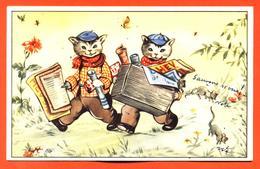 CPA Illustrateur à Identifier  Chats Habillés Avec Revues , Journaux - Animali Abbigliati