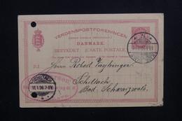 DANEMARK  - Entier Postal Commercial Avec Repiquage Au Verso De Kjøbenhavn En 1896 Pour Schiltach - L 48638 - Interi Postali