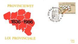 BELGIQUE. N°2231 De 1986 Sur Enveloppe 1er Jour. Loi Provinciale. - FDC