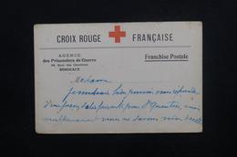 FRANCE - Carte Croix Rouge De L 'Agence Des Prisonniers De Guerre De Bordeaux écrite - L 48650 - Marcophilie (Lettres)