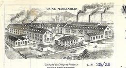 Facture 1924 / Photo Usine / 67 MARLENHEIM / E CLAUDE /Manufacture De Scies De Laminage - Francia
