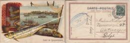 PECHE POISSONS TURQUIE ISTANBUL SALUT DE CONSTANTINOPLE LA POINTE DU SERAIL CACHET CONSTANTINOPOLI 1920 POSTE ITALIANE - Turkije