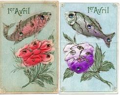 1er Avril 129, Poisson Fleur X 2 Strass Et Paillettes - 1° Aprile (pesce Di Aprile)