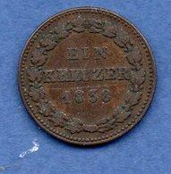 Nassau  - 1 Kreuzer 1838  --  Km # 37  - état  TTB - [ 1] …-1871: Altdeutschland