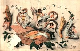 1er Avril 141, Poissons Formant Mot Et Femmes - 1° Aprile (pesce Di Aprile)