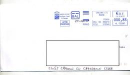 Lettre  Flamme Ema Chalons Ville Mareuil Curiosite Date - Marcophilie (Lettres)