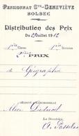 Distribution De Prix Pension Sainte Geneviève Bolbec 1912 2ème Prix Géographie Alice Piednoël - Diplomas Y Calificaciones Escolares