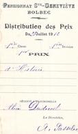 Distribution De Prix Pension Sainte Geneviève Bolbec 1912 1er Prix Histoire Alice Piednoël - Diplomas Y Calificaciones Escolares