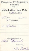 Distribution De Prix Pension Sainte Geneviève Bolbec 1912 1er Prix Histoire Alice Piednoël - Diplomi E Pagelle