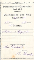 Distribution De Prix Pension Sainte Geneviève Bolbec 1912 1er Prix Histoire Géographie Alice Piednoël - Diplomas Y Calificaciones Escolares