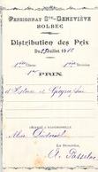 Distribution De Prix Pension Sainte Geneviève Bolbec 1912 1er Prix Histoire Géographie Alice Piednoël - Diploma's En Schoolrapporten
