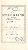 Distribution De Prix Pension Sainte Geneviève Bolbec 1909 2eme Prix Géographie Alice Piednoël - Diplômes & Bulletins Scolaires