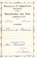 Distribution De Prix Pension Sainte Geneviève Bolbec 1912 Devoir De Vacances  Alice Piednoël - Diplomi E Pagelle