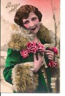 L60b149 - Bonne Année - Portrait De Femme Roses Et Fourrure - ABC N°1622 - Nouvel An