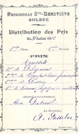 Distribution De Prix Pension Sainte Geneviève Bolbec Accessit Diligences Composition Dessin Sciences   Alice Piednoël - Diplômes & Bulletins Scolaires