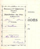 Distribution De Prix Pension Sainte Geneviève Bolbec 1er Prix D'excellence 1912   Alice Piednoël - Diplomi E Pagelle