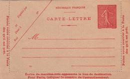 Carte Lettre Semeuse Lignée 50 C Rouge D3 Neuve. - Entiers Postaux