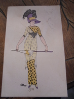 Mode 1911 Femme Ombrelle Chapeau à Plumes Dessin Illustrateur Signé - Moda