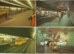 Bruxelles -- Lot De 8 Cartes Métro.    (2 Scans) - Transport Urbain Souterrain
