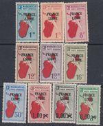 """Madagascar P.A.   N° 45 / 54 X  Timbre Surchargé """"France Libre"""" : La Série Des 10 Valeurs Trace De Charnière Sinon TB - Madagascar (1889-1960)"""