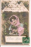 L60b153 - Bonne Année - Portrait De Femme à Sa Fenêtre, Gui Et Houx   - Série  N°66 - New Year