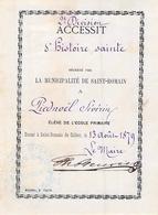 Distribution De Prix école Primaire Saint Romain De Colbosc 1879 Séverin  Piednoël Accessit Histoire Sainte - Diplomas Y Calificaciones Escolares