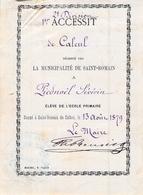 Distribution De Prix école Primaire Saint Romain De Colbosc 1879 Séverin  Piednoël 1er Accessit De Calcul - Diplomas Y Calificaciones Escolares