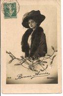 L60b155 - Bonne Année - Portrait De Femme Avec Un Beau Chapeau -  Bellone N°4018 - New Year