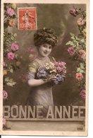 L60b160 - Bonne Année - Portrait De Femme Avec Fleurs -  Phébus N°3229 - Nouvel An
