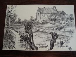 Vieux Saules à Irchonwelz Le Pays D'Ath Dessin De Pels  (Marcel Depelsenaire) (15,6 Cm/ 10,2cm) - Ath