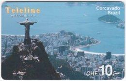 SWITZERLAND D-114 Prepaid Teleline - Landmark, Rio De Janeiro - Used - Suisse