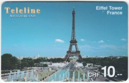 SWITZERLAND D-108 Prepaid Teleline - Landmark, Eiffel Tower - Used - Schweiz