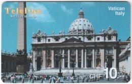 SWITZERLAND D-107 Prepaid Teleline - Landmark, Vatican - Used - Suisse