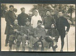 Carte Photo - Militaires, Blessés Et Infirmière - Weltkrieg 1914-18