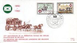 BELGIQUE. N°1395-6 De 1966 Sur Enveloppe 1er Jour. Voiture Postale. - Diligences