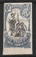 COTE DES SOMALIS - GUERRIERS - ESSAI - O Fr Bleu Et Noir - Costa Francesa De Somalia (1894-1967)