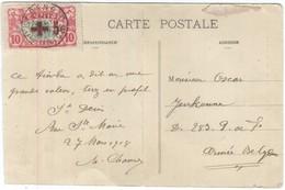 Ile De La Réunion.  Timbre 10 Centimes -Surcharge +5 (en Rouge)- Postée à St Benoît En Mars  1918. - Isola Di Rèunion (1852-1975)