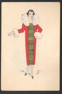 Cpa...illustrateur Lyett..art Nouveau / Art Déco...femme élégante Avec Manteau Col De Fourrure... - Künstlerkarten