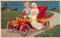 CPA EN RELIEF GAUFREE ENFANT AUTO EMBOSSED CHILDREN CAR MARIE FLATSCHER (CPA SE DETACHE & PLI - CARD COMES LOOSE CREASE - Autres Illustrateurs