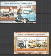 ST1329 2013 GUINEE GUINEA TRANSPORT CARS 150TH ANNIVERSARY HENRY FORD KB+BL MNH - Cars