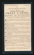 GRAAF KAREL D'URSEL - BRUSSEL 1848 - OOSTKAMP 1903 - Décès