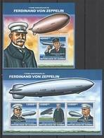 ST1354 2013 GUINEE GUINEA TRANSPORT AVIATION FERDINAND VON ZEPPELIN DIRIGIBLES KB+BL MNH - Zeppelins