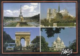 Carte Postale 75. Paris    Renault 4L  Notre Dame - Mehransichten, Panoramakarten